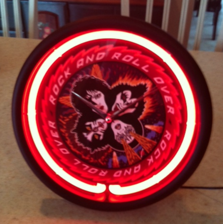 KISS KOLLECTIBLES Wanna See My Rock And Roll Over Neon Clock Its Really Cool