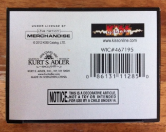 KISS - Gene Simmons - box bottom pic! - 2012