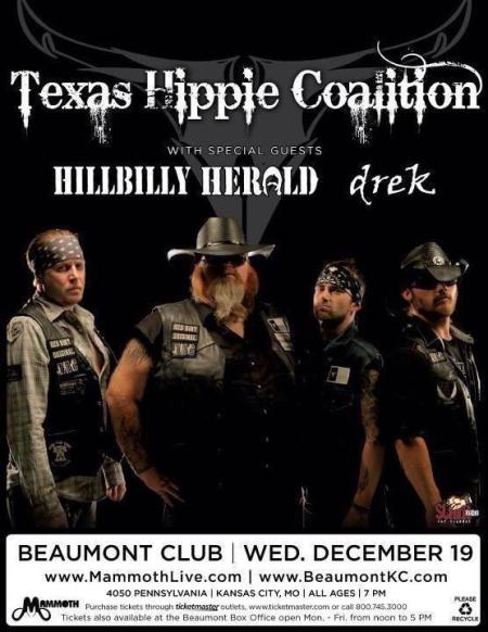 Texas Hippie Coalition - Dec. 19 - 2012 - Concert Flyer