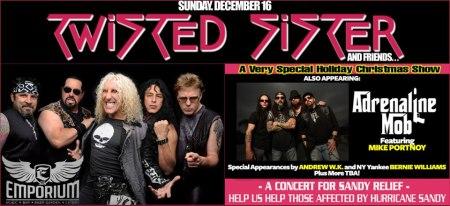 Twisted Sister - Adrenaline Mob - Dec 16th Concert - 2012 - hurricane sandy