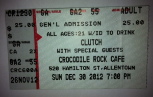CLUTCH - Croc Rock - ticket - December 2012