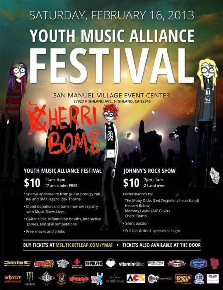 Cherri Bomb - Youth Music Alliance Festival - promo poster