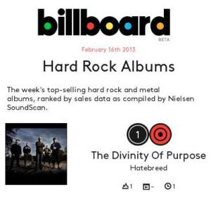 Hatebreed - Billboard - #1 Hard Rock - 2013
