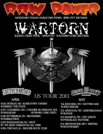Wartorn - raw power - us tour - 2013 - promo flyer