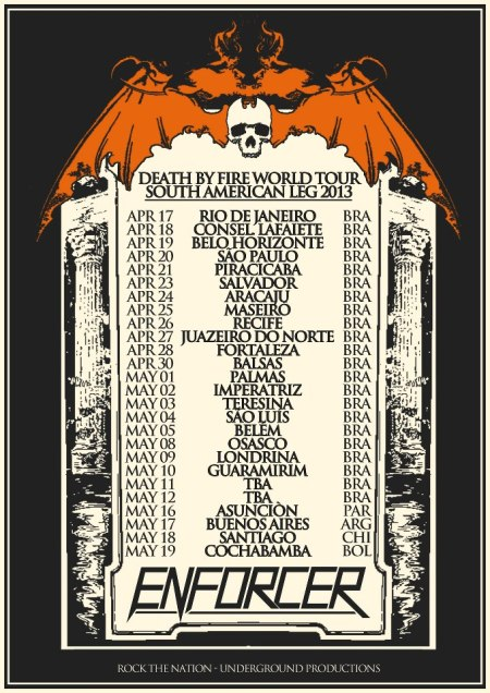 Enforcer - South American Tour - 2013 - concert flyer