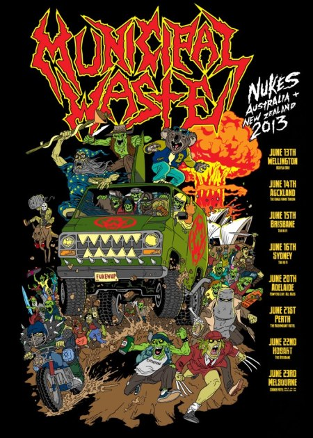 Municipal Waste - Australia - New Zealand - tour poster - 2013
