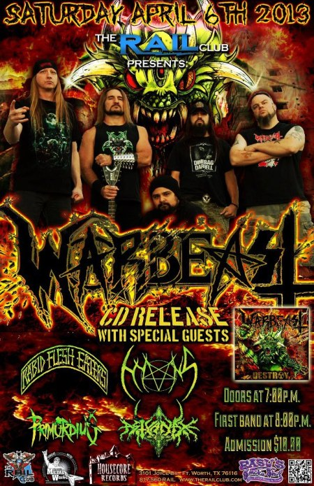 Warbeast - CD Release Party - promo poster - 2013