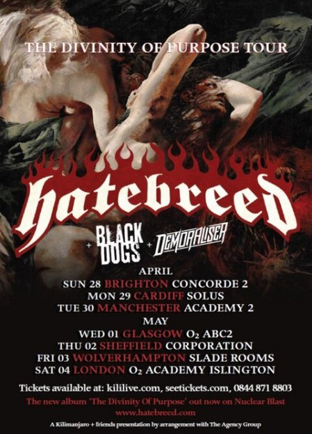 Hatebreed - The Divinity Of Purpose Tour - April:May 2013 - promo flyer