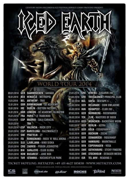 Iced Earth - World Tour 2014 - promo flyer