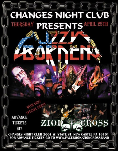 Lizzy Borden - Changes Night Club - promo flyer - 4:25:13