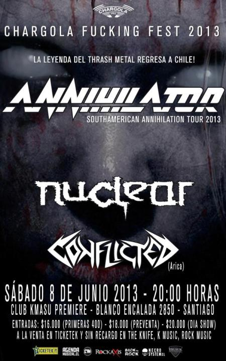 Nuclear - Annilihator - South American Tour - flyer - 2013