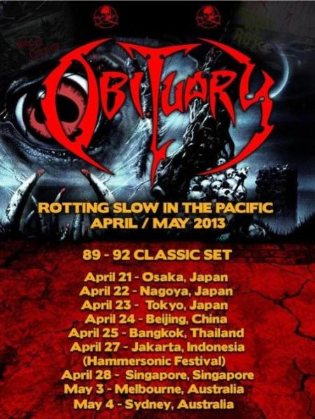 Obituary - Pacific Tour Dates - April:May - 2013 - flyer