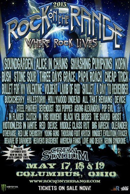 Rock On The Range - promo concert flyer - 2013