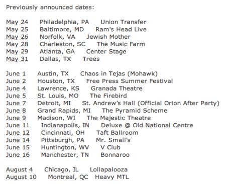 Baroness - Tour Dates - 2013 - #2