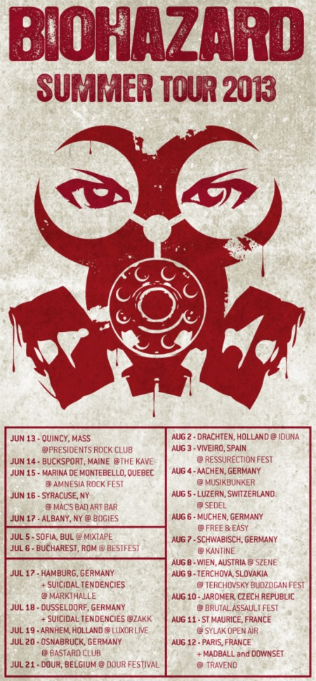 Biohazard - Summer Tour 2013 - promo flyer poster - big