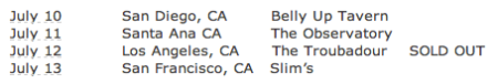 PALMS - Tour Dates - 2013 - #1