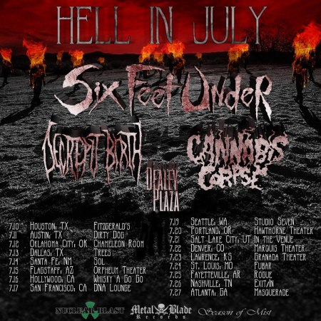Six Feet Under - Hell In July - promo flyer - 2013
