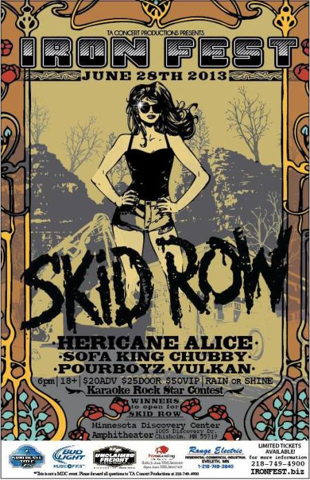 Skid Row - Iron Fest - June - 2013 - promo flyer