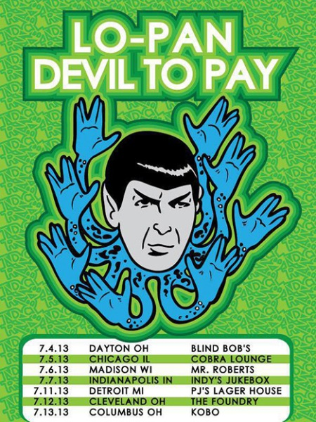Devil To Pay - Lo-Pan - July - 2013 - tour flyer