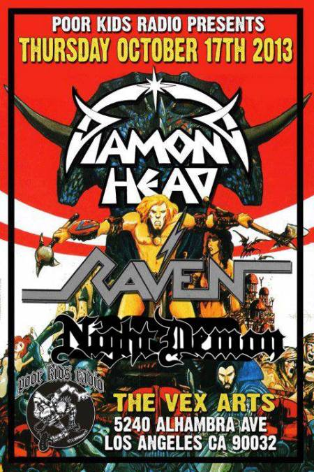 Diamond Head - Raven - Night Demon - concert flyer - October - 2013