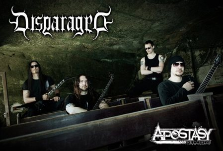 Disparaged - group promo pic - band and label logo