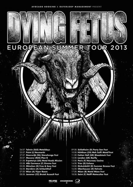 Dying Fetus - European Summer Tour - 2013 - promo flyer