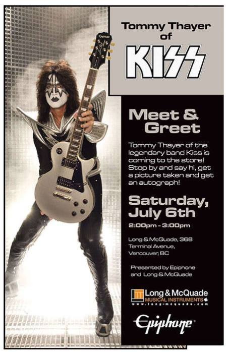 Kiss - Tommy Thayer - promo flyer - July 6th - 2013