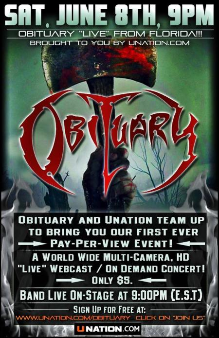 Obituary - Live Pay Per View - promo flyer - June - 2013