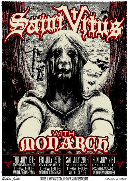 Saint Vitus - Monarch - Australia - Tour 2013 - promo flyer