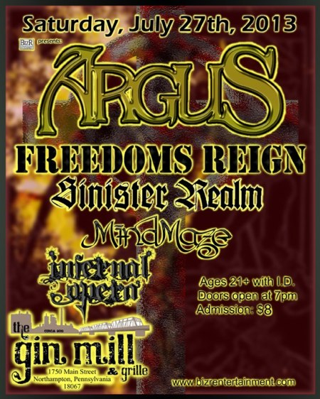 Sinister Realm - concert flyer - the gin mill & grille - 2013