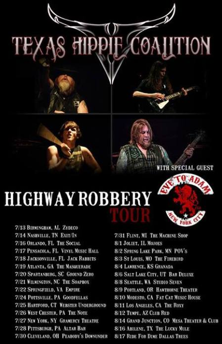 Texas Hippie Coalition - Highway Robbery Tour - 2013 - concert flyer