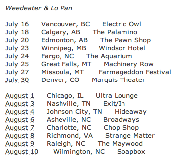 Weedeater - Lo-Pan - tour dates - 2013 - Summer