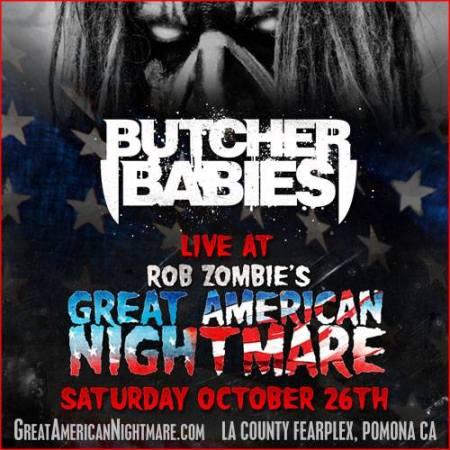 Butcher Babies - Great American Nightmare - promo flyer - Oct - 2013