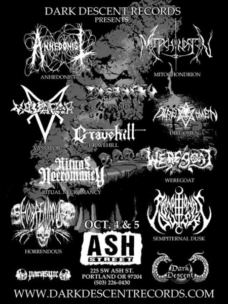 Dark Descent Records - showcase festival promo flyer - Oct 2013
