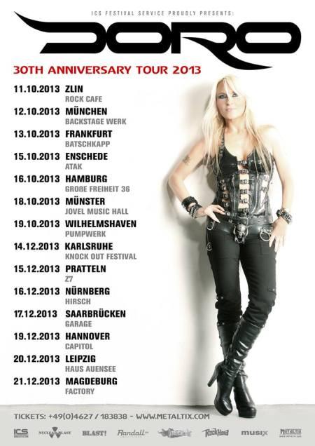 Doro - 30th Anniversary Tour - 2013 - Fall - Winter - promo flyer