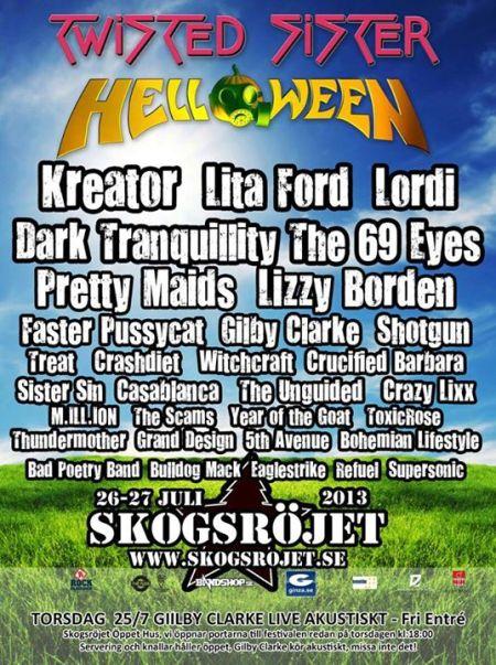 LIZZY BORDEN - HELLOWEEN - Skogsrojet festival - promo flyer - 2013