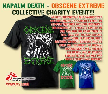 Napalm Death - Obscene Extreme - charity tee - promo flyer