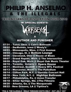 Philip H. Anselmo & The Illegals - tour promo flyer - Summer 2013