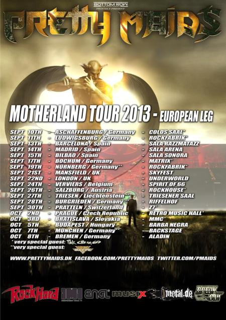 Pretty Maids - Motherland Tour - 2013 - promo flyer