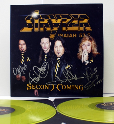 Stryper - Second Coming - autographed - cover - promo - yellow vinyl