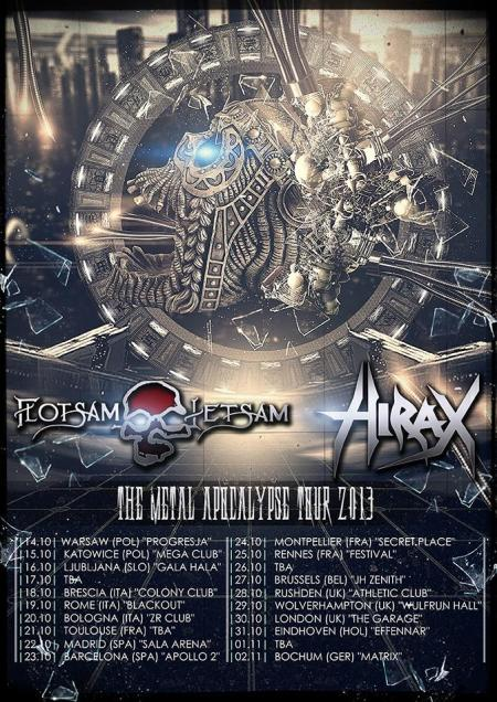 Flotsam And Jetsam - Hirax - European Tour flyer - 2013