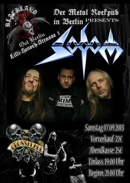Sodom - blacland - berlin Rock & Metal Bar - promo flyer - 2013