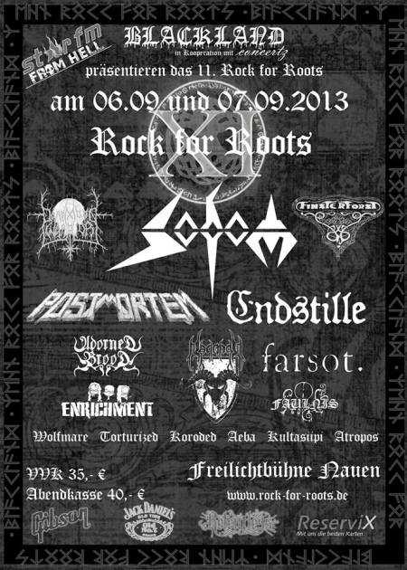 Sodom - Rock For Roots - promo flyer - sept - 2013