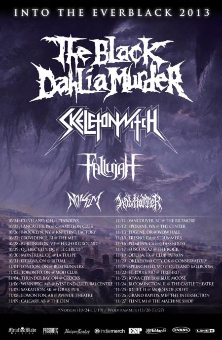The Black Dahlia Murder - Skeletonwitch - promo flyer - tour - 2013