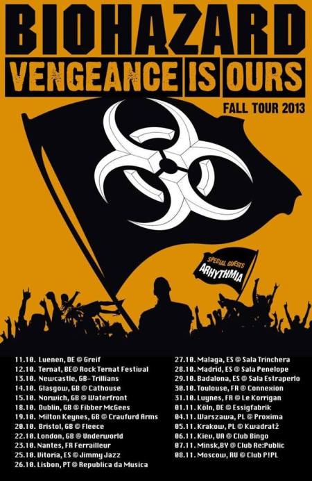 Biohazard - Vengeance Is Ours - Fall Tour 2013 - promo flyer
