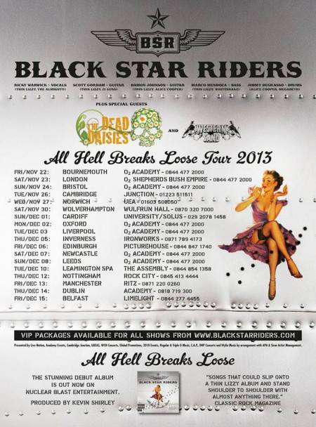 Black Star Riders - All Hell Breaks Loose Tour - 2013 - UK - promo flyer
