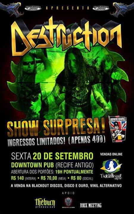 Destruction - Recife Antigo - promo flyer - September - 2013