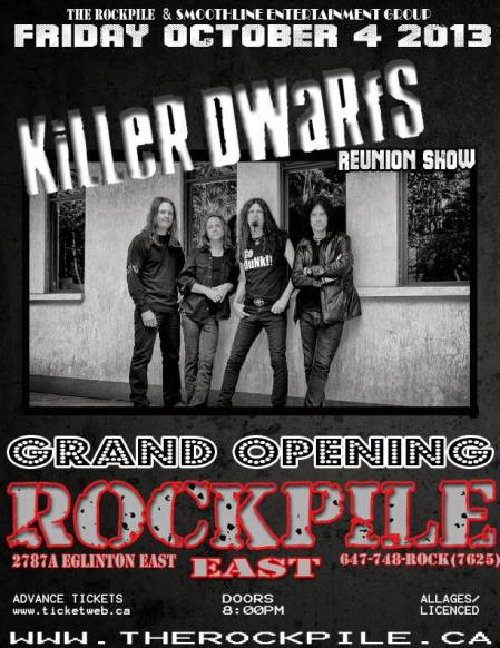 Killer Dwarfs - Reunion Show - Rockville East - Oct - 4 - promo flyer