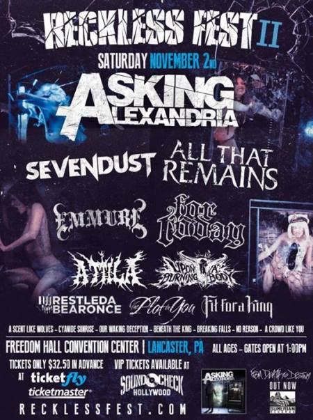 Reckless Fest II - Asking Alexandria - November - 2013 - promo flyer