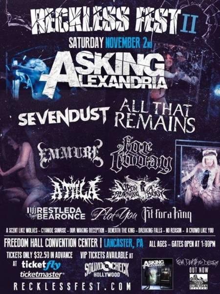 Reckless Fest II - Asking Alexandria - November - 2013 - promo flyer
